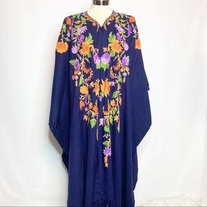 Vintage embroidered floral kimono shawl